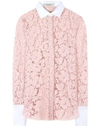 Valentino Chantilly Lace Blouse - Lyst