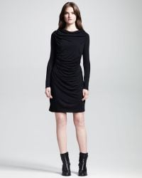 Helmut Kinetic Draped front Longsleeve Dress - Lyst