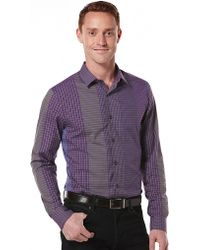 Perry Ellis Engineered Grid Plaid Sport Shirt - Lyst