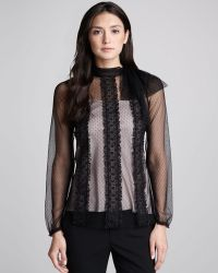 Valentino Floralembroidered Point Desprit Blouse - Lyst