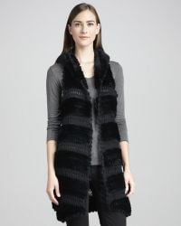 La Fiorentina Rex Rabbit Fur Knit Vest Black - Lyst