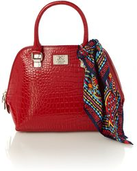 Love Moschino Shiny Croco Red Dome Bag - Lyst