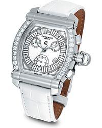 "Charriol - Diamond ""colvmbvs Chronographe Tonneau"" Watch On White Crocodile Strap - Lyst"