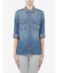Current/Elliott Stud Collar Denim Shirt - Lyst