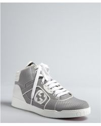 Gucci White Patent Leather and Canvas Hi Top Sneakers - Lyst