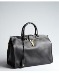 Saint Laurent Black Leather Cabas Chyc Large Tote - Lyst