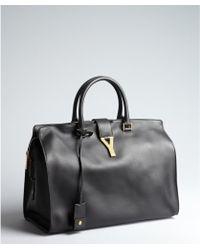 Saint Laurent Black Leather Cabas Chyc Large Tote - Lyst