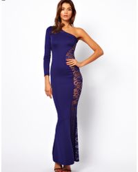 TFNC Maxi Dress with Lace Side - Lyst