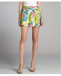 Alice + Olivia White Sunflower Printed Silk Chiffon 'Kayla' Mini Skirt - Lyst