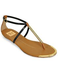 Dolce Vita - Archer Black Leather T Strap Sandal - Lyst