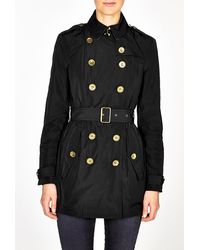 Burberry Brit Black Double Breasted Rain Jacket - Lyst