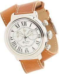 Glam Rock - 40mm Stainless Steel Chronograph Watch with Brown Leather Double Wrap Strap - Lyst
