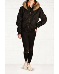 McQ by Alexander McQueen Fur Hooded Bomber Jacket - Lyst