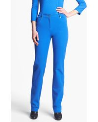 St. John Yellow Label Marie Straight Leg Twill Pants - Lyst