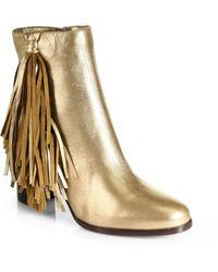 Christian Louboutin Jimmynetta Metallic Leather Fringe Ankle Boots - Lyst