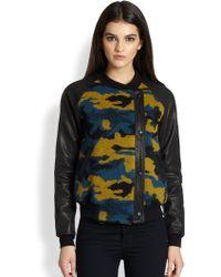 Gryphon - Camo Leather Combo Moto Jacket - Lyst