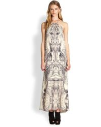 Haute Hippie Printed Silk Halter Dress - Lyst