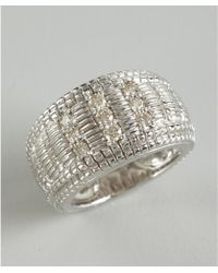 Judith Ripka Diamond and Crosshatched Sterling Silver Ring - Lyst