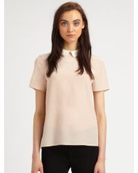 Marc By Marc Jacobs Alex Silk Crepe Collared Top - Lyst
