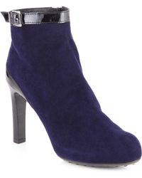 Tod's Suede Patent Leathertrimmed Ankle Boots - Lyst