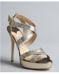 Jimmy Choo Champagne Glittered Crisscross Strap Vamp Sandals - Lyst