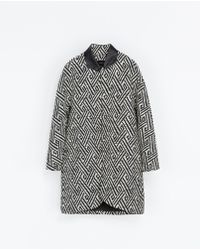 Zara White Jacquard Coat - Lyst