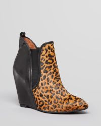Jeffrey Campbell Pointed Toe Wedge Booties Harrison Leopard Print - Lyst