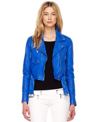 MICHAEL Michael Kors Cropped Crinkled Leather Jacket - Lyst