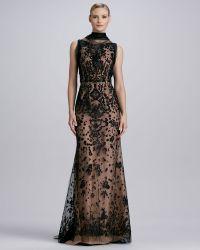 Oscar de la Renta Beaded Tulle Trumpet Gown Blacknude - Lyst