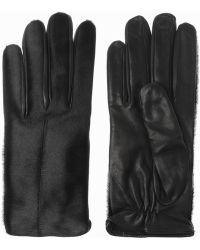 Acne Studios Aura Calf Hair and Leather Gloves - Lyst