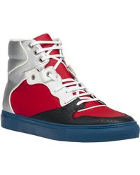 Balenciaga Multimaterial Perforated High Sneakers - Lyst