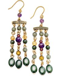 Lauren by Ralph Lauren - Goldtone Colorful Bead Chandelier Earrings - Lyst