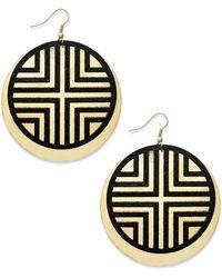 Material Girl - Goldtone Black Tribal Disc Earrings - Lyst