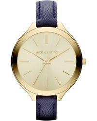 Michael Kors Womens Navy Leather Strap 42mm - Lyst