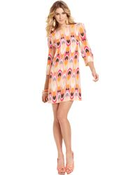 Mm Couture - Three Quarter Boat Neck Printed Shift - Lyst