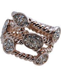 T Tahari - Rose Gold Tone Bezel Set Crystal Twist Ring - Lyst