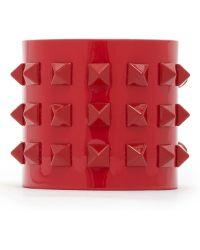 Valentino 'Rockstud' Wide Patent Leather Bracelet - Lyst