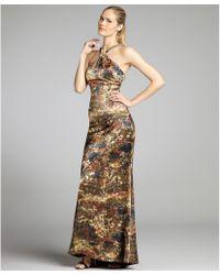 Vera Wang Lavender Nightlight Print Silk Charmeuse Draped Gown - Lyst