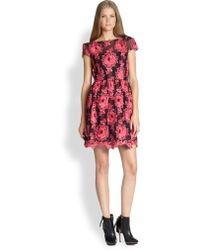 Alice + Olivia Chantil Embroidered Silk Dress - Lyst