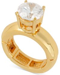 Betsey Johnson Goldtone Crystal Stretch Ring - Lyst