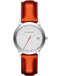 Burberry Womens Swiss Tangerine Leather Strap 34mm - Lyst