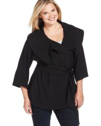 Calvin Klein Plus Size Belted Wrap Jacket - Lyst