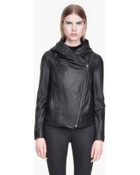 Helmut Lang Washed Leather Hooded Leather Jacket - Lyst