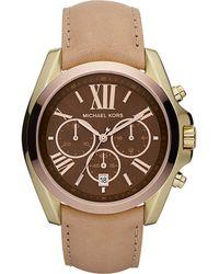 Michael Kors Womens Chronograph Bradshaw Chocolate Vachetta Leather Strap 43mm - Lyst