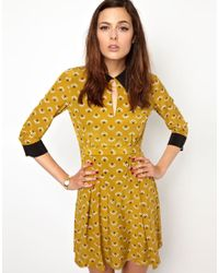 Orla Kiely - Collar Detail Dress in Posey Print Silk - Lyst
