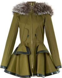 Prabal Gurung Twill Parka with Fox Fur - Lyst