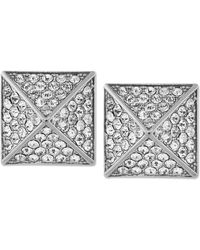Vince Camuto - Silver-tone Glass Pave Pyramid Stud Earrings - Lyst