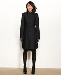 Anne Klein Wool-Cashmere-Blend Club-Collar Walker Coat - Lyst