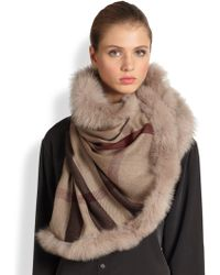 Burberry Fox Fur-Trimmed Check Scarf - Lyst