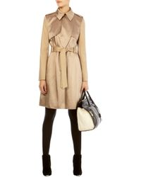 Karen Millen Satin Fabric Mix Trench Coat - Lyst